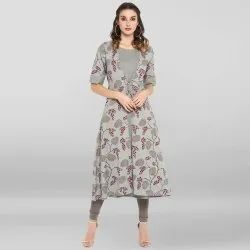 Grey Pure Cotton Kurta With Attached Jacket(JNE3466)