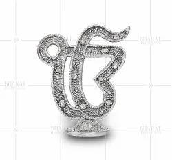 Silver Plated Ekonkar Symbol