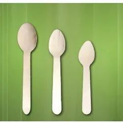 Brown Plastic Birthwood/Bamboo Spoon for Event and Party Supplies