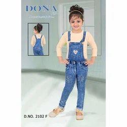 Blue, Beige Kids Girl Denim Dungaree