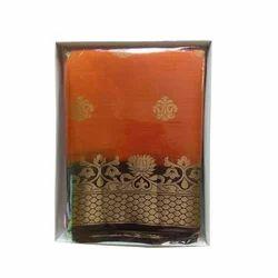 Orange Golden, Black Party Wear Silk Saree