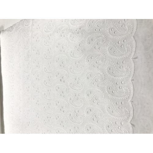 White Embroidered Chikankari Fabric