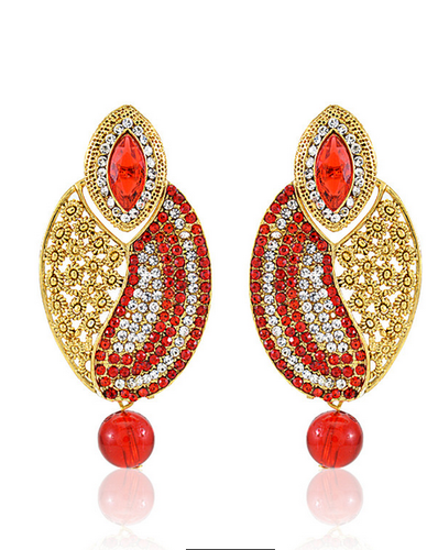 Crystal Pearl Designer Red Gold Plated Drop Earring