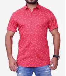 Cotton Red Party Wear Shirt For Man