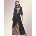 Black Rayon Printed Floor Length Gown