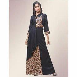 Black 3/4th Sleeves Printed Floor Length Gown