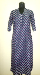 ISHIMA Dark Blue Flower Print Long Cotton Kurtis