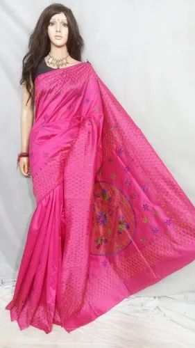 Gujrati silk kantha stitched saree