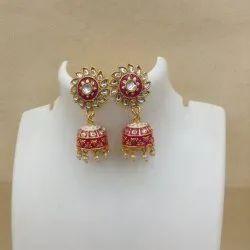 111 Pink White Kundan Meenakari Earrings