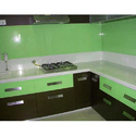 Green Back Painted Glass For Kitchen Wall