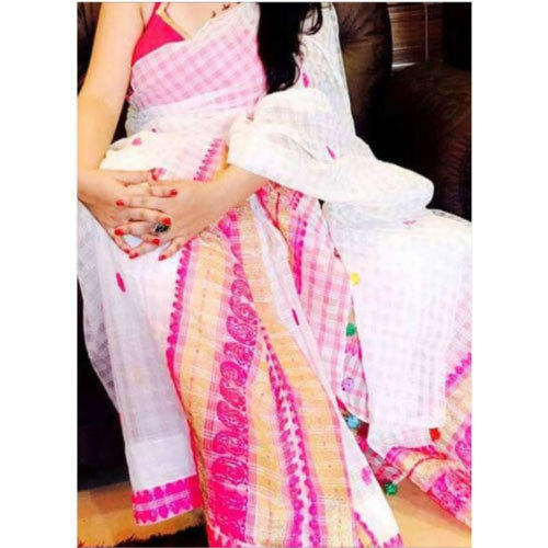 White And Pink Ladies Cotton Mekhela Chadar