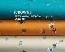 Crown 100% Cotton Satin Print Fabric