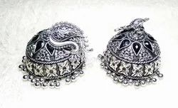 Craftcurioo Jhumbo Size Jhumka with Stud Silver Oxidized Earrings, Size: Length-7.5cm., Shape: Round