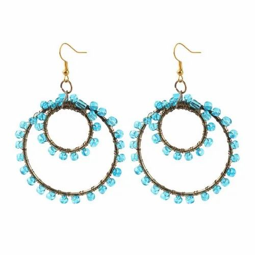 The Rolly-Polly Alloy Metal Glass Bead Blue Dangle Earring 18449 (1 Pair)