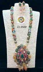 Handcrafted Meenakari Navratan Uncut Semiprecious Stone Necklace And Earrings