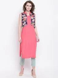Rayon Sleeveless Printed Jacket Kurti