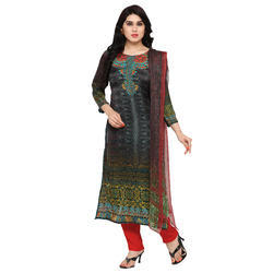 Straight  Digital Printed Salwar Suit With Dupatta