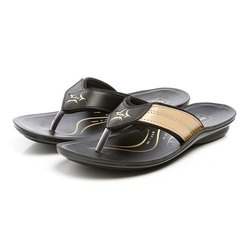 Mens Black Beige Synthetic Leather PU Slipper