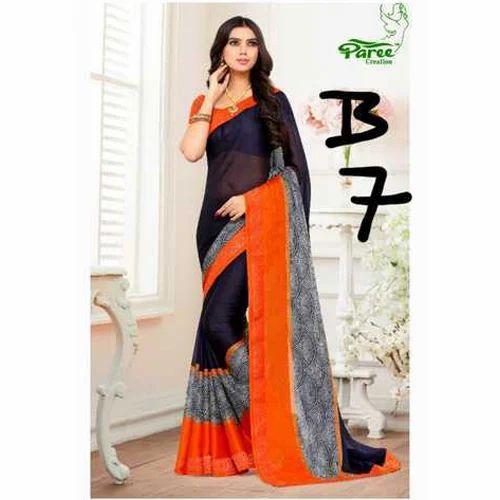 1d2438255033b Paree Creation Georgette Printed Fashion Saree
