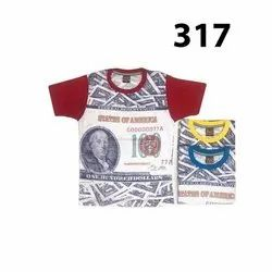 Cotton Casual Wear Kids Round Neck T Shirt, Size: 5-7 Years