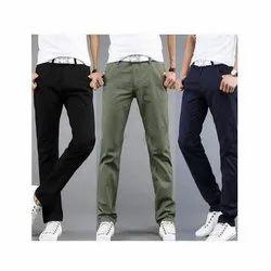 Flat Slim Fit Double Cloth Lycra Trousers, Handwash