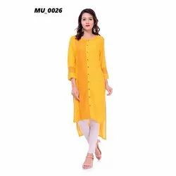 Plain Yellow Ladies Kurti