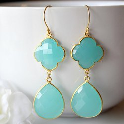 Aqua Chalcedony Gold Vermeil Bezel Set Earrings