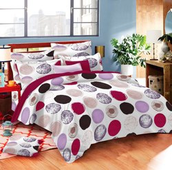 Dark Colour Circle Print Bed Sheet