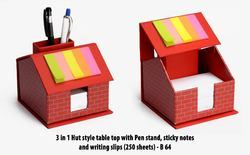 13x13x11 (cm) Red 3 In 1 Hut Style Table Top With Pen Stand, Sticky Notes And Writing Slips (250 Sheets)