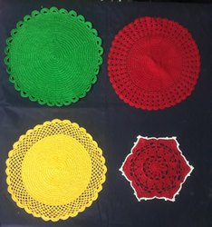 Red Cotton yarn washable Table Mats, Size: 10 Inches