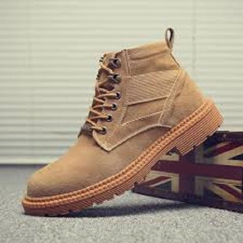 Casual Mens Brown High Cut Shoes, Size