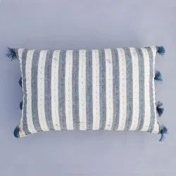 Kala Silk Weaved Tasseled Lumbar Grey And White Stripe Bed Pillow Decorative Cushion Cover