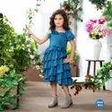 Cute Blue Floral Applique One Side Cut Solder Frilled Designer Party Frock