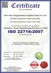 ISO 22716:2007 Certification and Consultancy Service