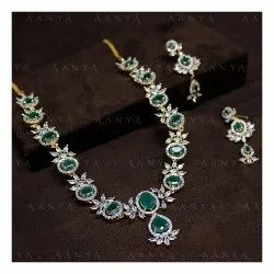 Silver Imitation Jewellery AD Necklace Set, Occasion: Party