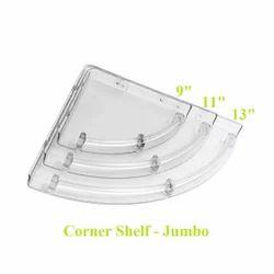 JACA Transparent ABS UB Unbreakable Jumbo Corner Shelf For Bathroom
