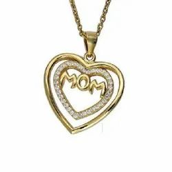 Gold Plated Mom Heart Shape Silver Pendant