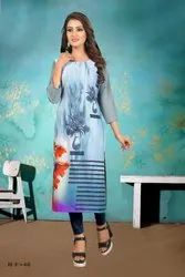 Party Wear Rayon Printed Kurti