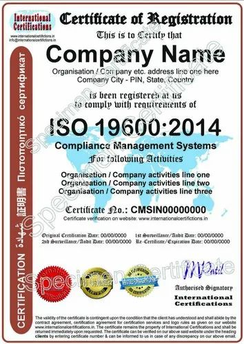 ISO 196002014 Certification for Compliance Management