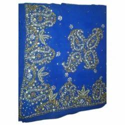 Blue Wedding Wear Wedding Embroidered Saree