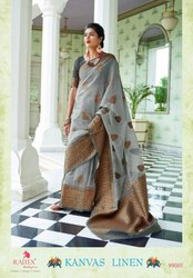 Rajtex Canvas Linen 99001-99006 Series Pure Linen Silk Saree Diwali Shopping
