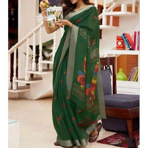 Party Wear Printed Ladies Modern Linen Silk Saree, 5.2 m (separate blouse piece)