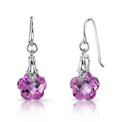 Flower Shaped Amethyst Silver Earrings