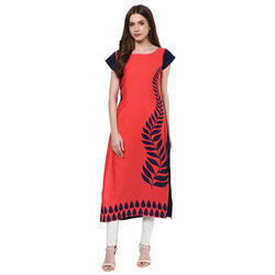 806888629f Ziyaa Crepe Peach Color Digital Print Casual Kurti, Size: M, Rs 1373 ...