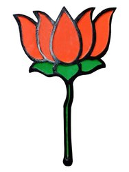 BJP 3D Kamal Logo With Long Handle