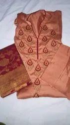 Maroon Printed Ladies Silk Embroidered Suit