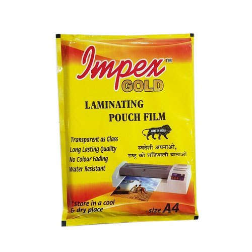 Impex Gold 80 Micron Lamination Pouch, Packaging Type: Packet