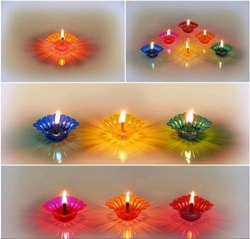Hard Plastic Multicolor Decorative Diya