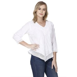 Design 3/4th Sleeve Skavij Party Short Sleeve Solid Ladies White Top