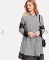 Contrast Eyelash Lace Glen Plaid Shirt Dress